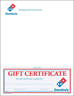 Gift Certificates Dominos Pizza Local Store Marketing