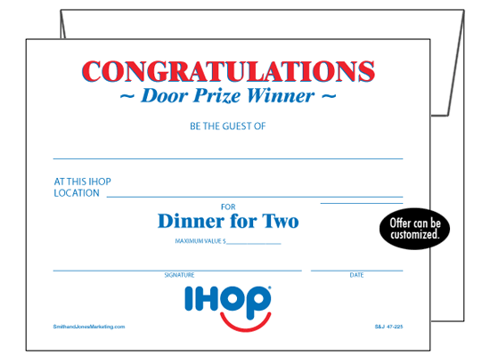 Coupons Ihop Local Store Marketing Materials From Smith: Door Prize/Congratulations Cards : IHOP, Local Store
