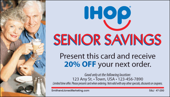 Many businesses recognize this fact and offer discounts to senior citizens. (some starting at age 55) a discount for their business. IHOP. Senior Menu for those 55 and older.
